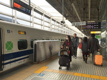 People walk at the train station in Kyoto, Japan Royalty Free Stock Photo