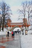 People walk in Tsaritsyno park in Moscow in winter Royalty Free Stock Photography