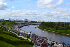 People walk on Tura River Embankment in Tyumen. July 30, 2016. Stock Images