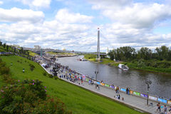 People walk on Tura River Embankment in Tyumen. July 30, 2016. Royalty Free Stock Image