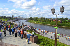 People walk on Tura River Embankment in Tyumen. July 30, 2016. Royalty Free Stock Photography
