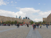 People walk in Victory Park in Moscow stock photos