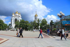 People walk on Victory Square in Kaliningrad in July Royalty Free Stock Photo