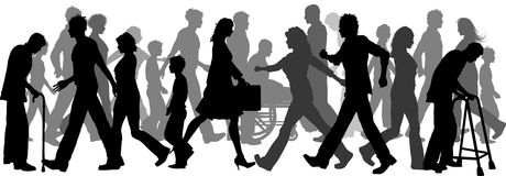 People walking. Silhouette of a huge crowd of people walking Stock Illustration