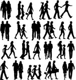 People walking. Large collection of silhouettes of people walking vector illustration