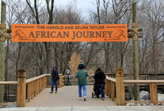People walking into the African Journey section, Baltimore Zoo, Maryland,2015 Stock Photos