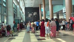 People walking at the airport in Mandalay, Myanmar stock video