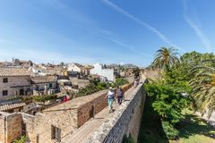 People walking on Alcudia´s medieval wall Royalty Free Stock Photo