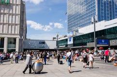 People walking in Alexander Platz at noon, Berlin, Germany Stock Images