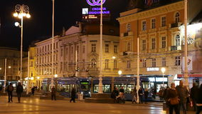 People walking along Ban Jelacic Square, in Zagreb stock video footage