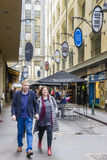 People walking along a laneway in Melbourne Stock Photos