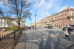 People walking along Nevsky prospect in the early spring. In St. Petersburg, Russia Stock Photos