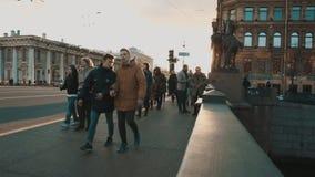 People walking along Nevsky Prospekt stock video footage