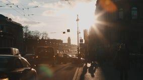 People walking along Nevsky Prospekt stock video
