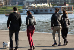 People walking along the river Vistula in Cracow Stock Image