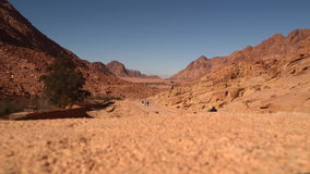 People walking along the road between the desert mountains. Individuals can not see stock footage