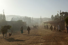 People walking along a road, Ethiopia Royalty Free Stock Photos