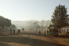 People walking along a road, Ethiopia Royalty Free Stock Photography