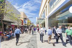 People walking along Rundle Mall in Adelaide Stock Photography