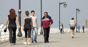 People walking along the seafront, Beirut. Lebanon Royalty Free Stock Image
