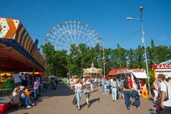 People walking in amusement park Royalty Free Stock Image