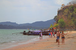 People are walking by Ao Nang in Krabi province of Thailand Royalty Free Stock Photos
