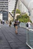 People walking around Azrieli Center, Tel Aviv royalty free stock images