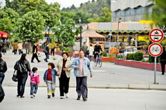 People walking around in Bitola. BITOLA, MACEDONIA, MAY 19, 2011 People walking around in Bitola, Macedonia, on May 19th, 2011 stock image