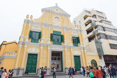 People walking around Church of St. Dominic (Domingos). Largo do Senado in Macau Royalty Free Stock Photography