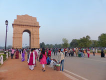 People walking around India Gate in New Delhi Stock Photos