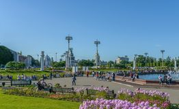 People are walking around VDNKh. Stock Photography