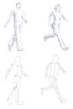 People walking artistic sketch with shading Stock Images