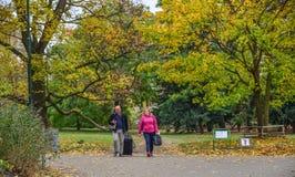 People walking at autumn park stock photo