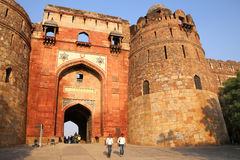 People walking through Bara Darwaza, Big gate of Purana Qila, Ne Royalty Free Stock Photography