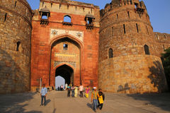 People walking through Bara Darwaza, Big gate of Purana Qila, Ne Royalty Free Stock Images