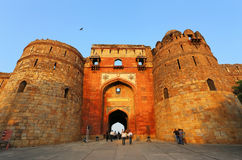 People walking through Bara Darwaza, Big gate of Purana Qila, Ne Stock Photo