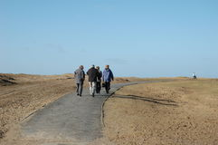People walking on the beach. A group of people walking along a path through beach sand dunes towards the sea Stock Photo