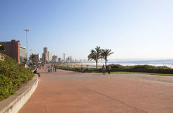 People Walking Beach Front Promenade in Durban South Africa Stock Photography
