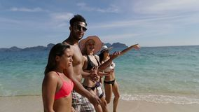 People Walking On Beach Girl Point Finger, Young Tourists Group Communication Beautiful Landscape stock footage
