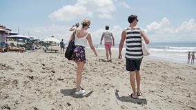 People Walking Beach Summer Travel Vacation Slowmotion stock video footage
