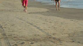People walking on the beach. Unidentified people walking on the beach stock footage