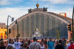 People Walking Besides the Atocha Railway Station in Madrid Royalty Free Stock Image