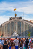 People Walking Besides the Atocha Railway Station in Madrid Royalty Free Stock Photography
