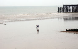 People walking on the big beach Stock Photography