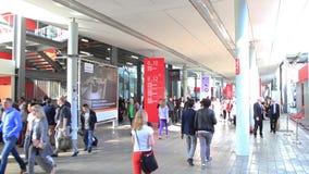 People walking, blurred background stock video footage
