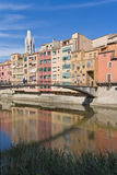 People walking on the bridge. Girona. People cross the bridge in Girona, Catalonia, Spain Royalty Free Stock Photo