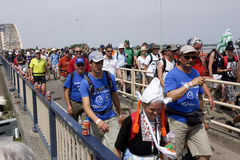 People walking on the bridge of Nijmegen Royalty Free Stock Image