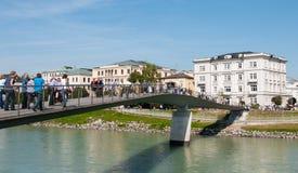 People walking on the bridge, Salzburg, Austria Royalty Free Stock Photography