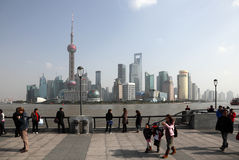People walking on the Bund Royalty Free Stock Images
