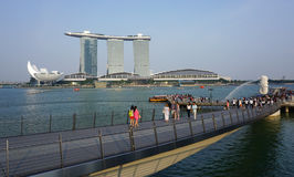 People walking at business district in Singapore Stock Photo